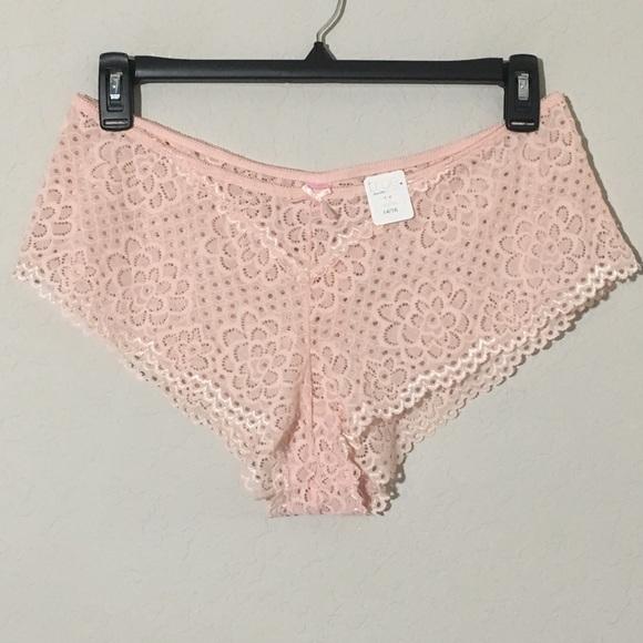 80b6572d43f NWT True Rue 21 Boyleg Pink Lace Panties 14 16